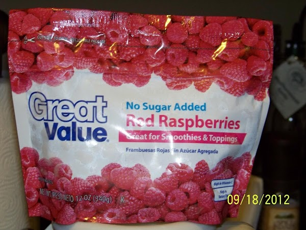 Boil one bag of frozen raspberries and one cup of water until mush. Let...