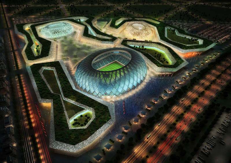 Photo: DOHA, QATAR - UNDATED:   In this handout image supplied by Qatar 2022  The Al-Wakrah stadium complex is pictured in this artists impression as Qatar 2022 World Cup bid unveils it's stadiums on September 16, 2010 in Doha, Qatar.  (Photo by Qatar 2022 via Getty Images)