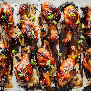 Sticky Hoisin-Soy Chicken Drumsticks.