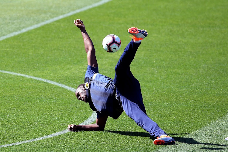 Eight-time Olympic sprinting gold medalist Usain Bolt takes part in his first training session with the Central Coast Mariners at Central Coast Stadium in Gosford, Australia on August 21 2018. Picture: AAP/DAN HIMBRECHTS/VIA REUTERS