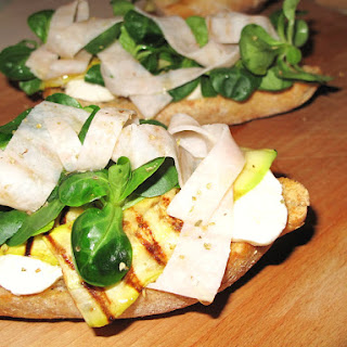 Mozzarella, Zucchini, Arugula and Chicken Bruschetta.