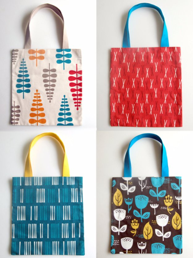 Easy Sewing Projects to Sell - Twenty Minute Tote Bag - DIY Sewing Ideas for Your Craft Business. Make Money with these Simple Gift Ideas, Free Patterns #sewing #crafts