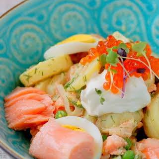 Salad Olivier with Salmon and Caviar.