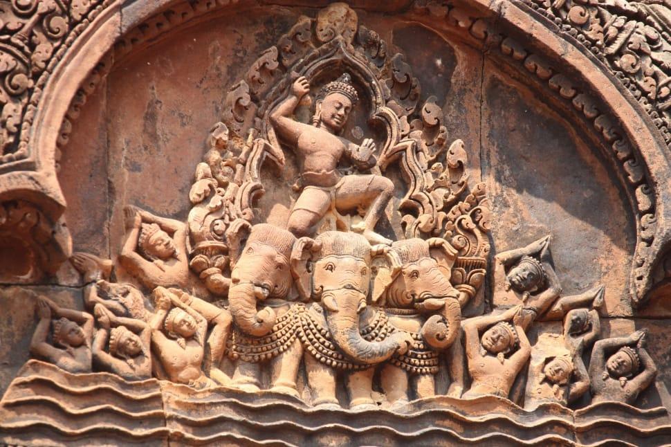 Hindu devatas Sculptured on wall at the entrance of Angkor wat temple.