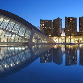 Calatrava Buildings, Valencia by Luis Felipe Moreno Vázquez - City,  Street & Park  Vistas ( water, blue sky, blue, buildings, reflections, night, architecture, valencia, planetary, calatrava )