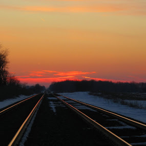 Railroad track sunset by Anne Mangen - Landscapes Sunsets & Sunrises