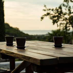 coffee with a view by Lucija Janša - Novices Only Objects & Still Life ( coffee, strunjan, summer, seaside, view )