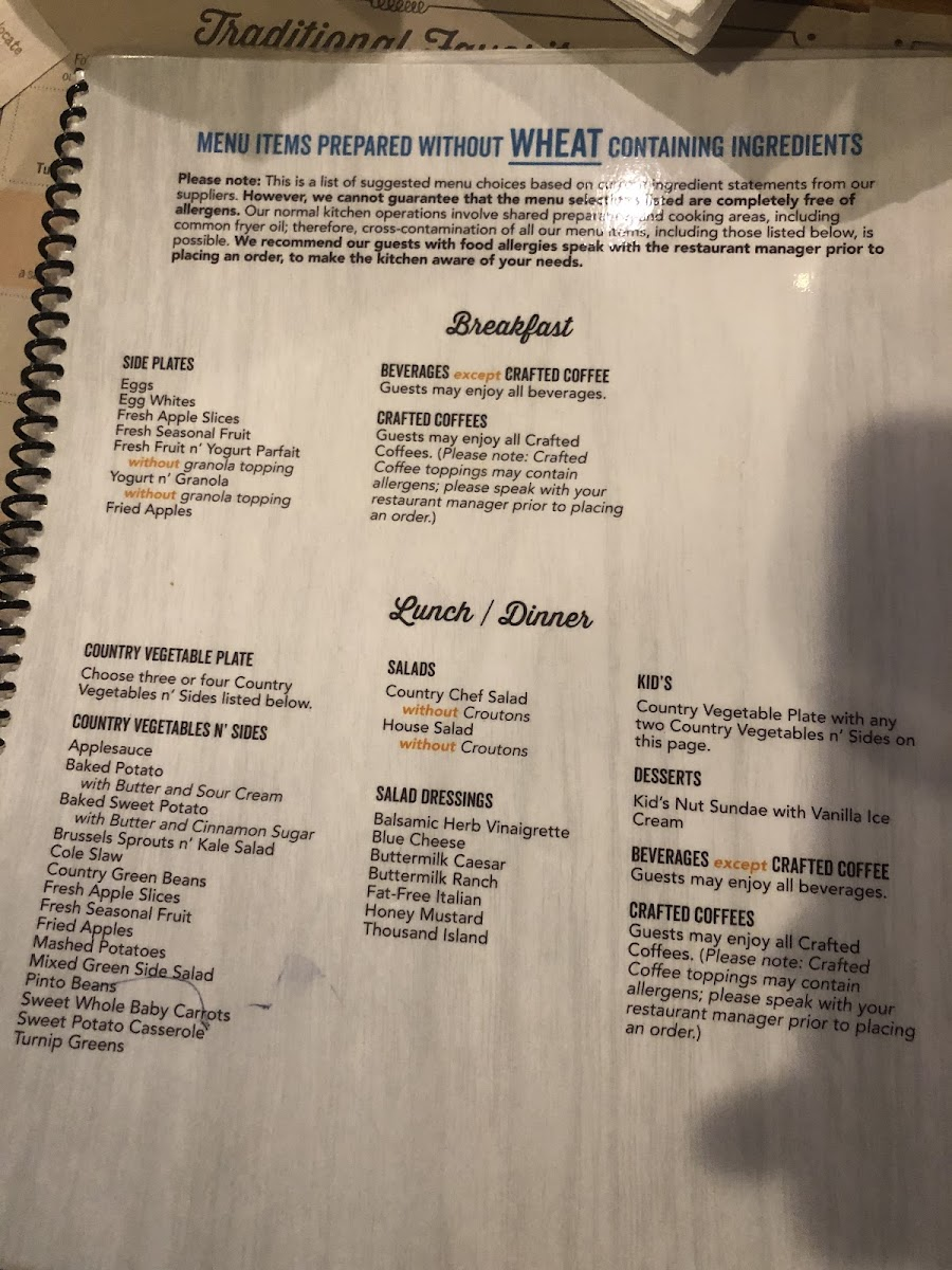 Cracker Barrel gluten-free menu