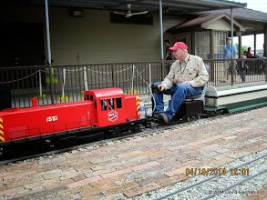 Photo: TrainMaster and Engineer Bob Barnett     HALS Public Run Day 2014-0419 DH3