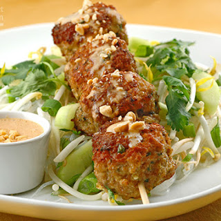 Southeast Asian Turkey Meatballs w/Peanut Sauce.