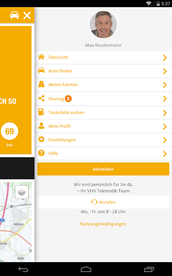 VHV Telematik – Screenshot