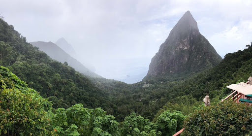 st-lucia-view-of-pitons-from-ladera.jpg - A view of the Pitons on a misty day from Ladera Resort on St. Lucia.