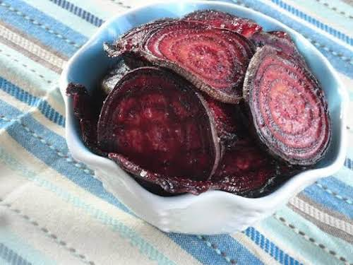 """Crispy Oven-Baked Beet Chips""""This recipe is so easy and so good for..."""