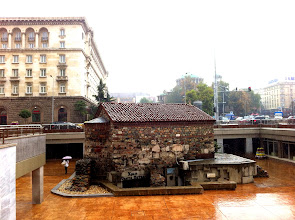 Photo: Sightseeing in the rain in Sofia.  One of the buildings unearthed during construction of metro station.