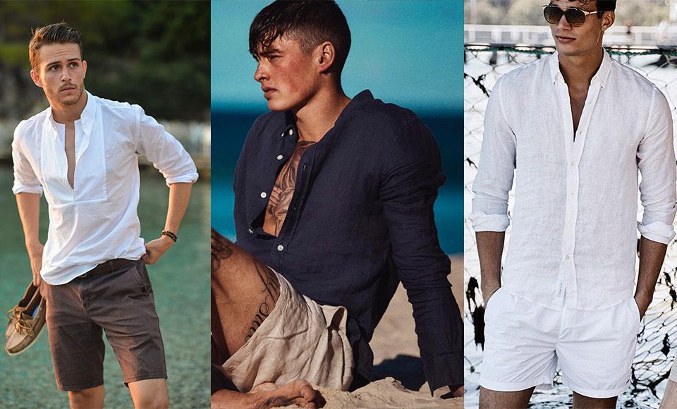 Áo sơ mi vải lanh kết hợp với quần short đem đến sự thoải mái, thoáng mát trong ngày hè