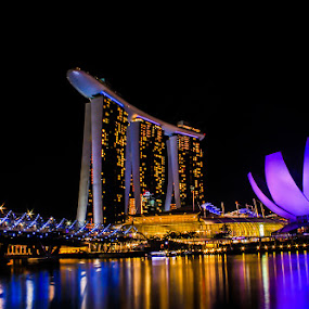 by Mc Melwyn Vergado - Buildings & Architecture Office Buildings & Hotels ( pwcarcreflections-dq, landmark, travel, night, lights )