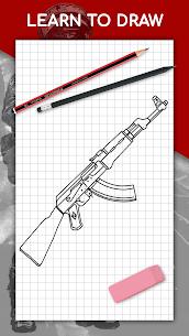 كيفية رسم الأسلحة خطوة بخطوة ، واستخلاص الدروس 1