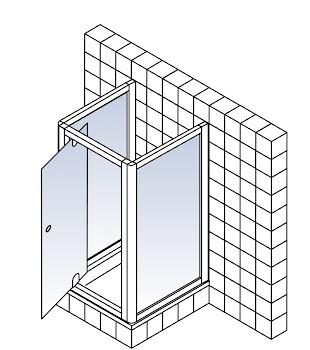 Drehtür inklusive 2 Seitenwänden als U-Kabine