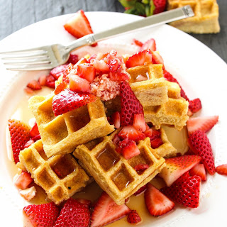 Strawberry Swirled Cornmeal Waffles.