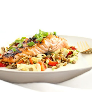 Thai Lentil Salad with Miso Salmon Recipe