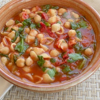 Tomato Chickpea Soup with Tiny Pasta and Fresh Herbs.