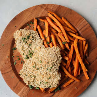 Gluten Free Baked Panko Fish and Chips with Sweet Potato Fries.