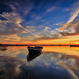 Peace by Abílio Neves - Landscapes Sunsets & Sunrises ( sky, sunset, clouds, boats, water )