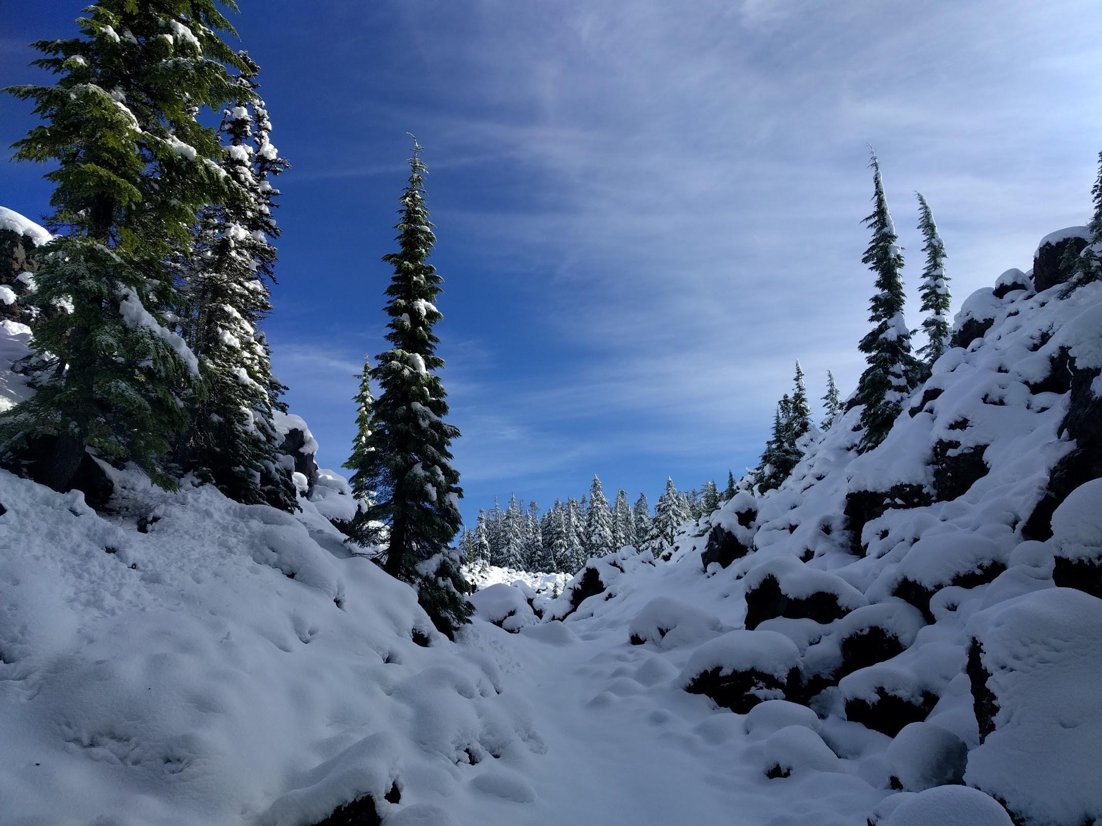 Snowy lava