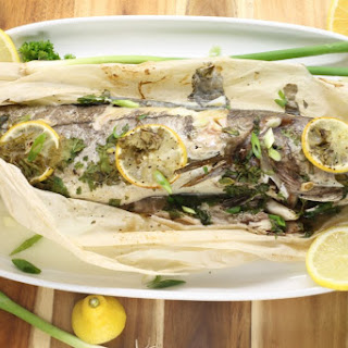 Baked Haddock in Parchment with Lemon and Herb.