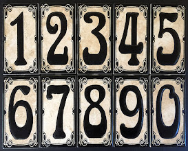 "Photo: Malibu Tile Works - House Number Address Tiles - Creamy Gold - Black Border 3"" x 6"" Tiles - Each Sold Separately"