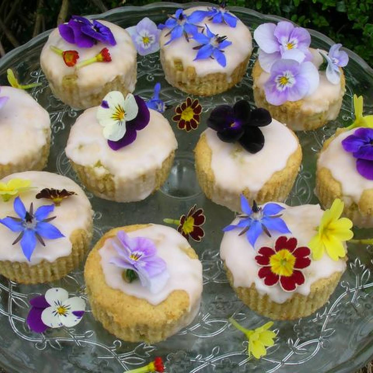 Rhubarb Fairy Cakes and Edible Flowers