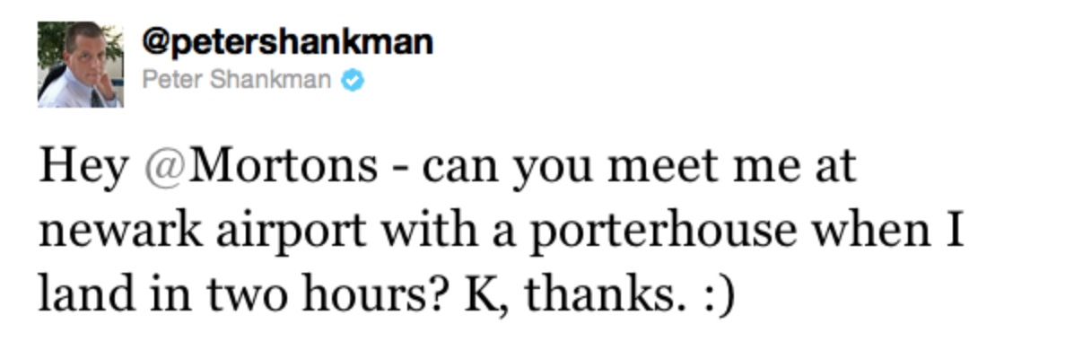 Peter Shankman tweet asking Morton's Steakhouse for a steak delivery to airport.
