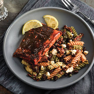 Sweet-and-Sour Salmon with Black Bean and Pasta Salad.