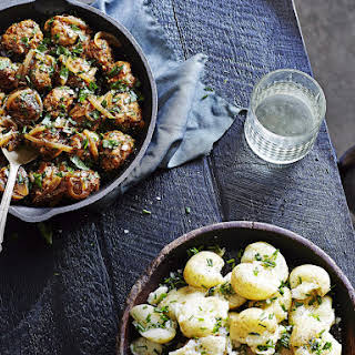 Pork and Pear Meatballs with Chive-Crushed Potatoes.