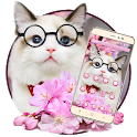 Pink cherry blossom cute cat theme icon