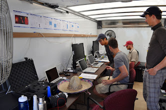 Photo: The inside of the truck was our portable office.