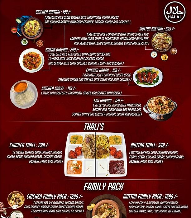 Bangalore Biryani menu 1