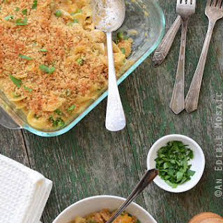 Old Bay-Spiced Cheesy Tuna Noodle Casserole with Buttered Toast Topping.