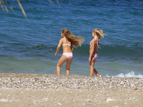 Photo: Kids bathing in the Gulf of Corinth. We had lunch on the beach here.