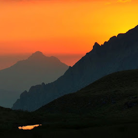 Mountains and sunrise by Mustafa Tor - Landscapes Mountains & Hills ( orange, mountains, colors, sunrise, peaks,  )