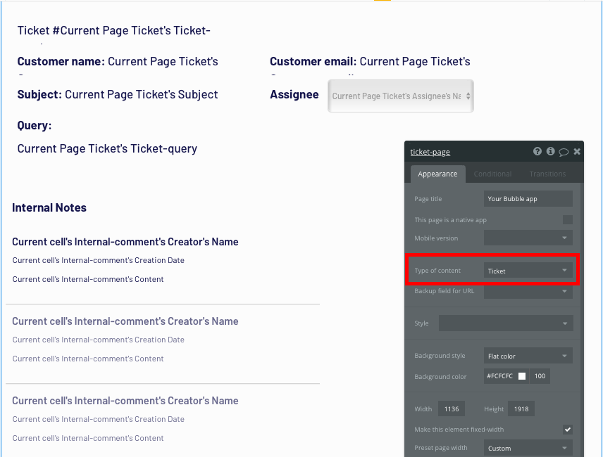 Configuring the page type of a Zendesk support ticket in Bubble's no code web app builder.