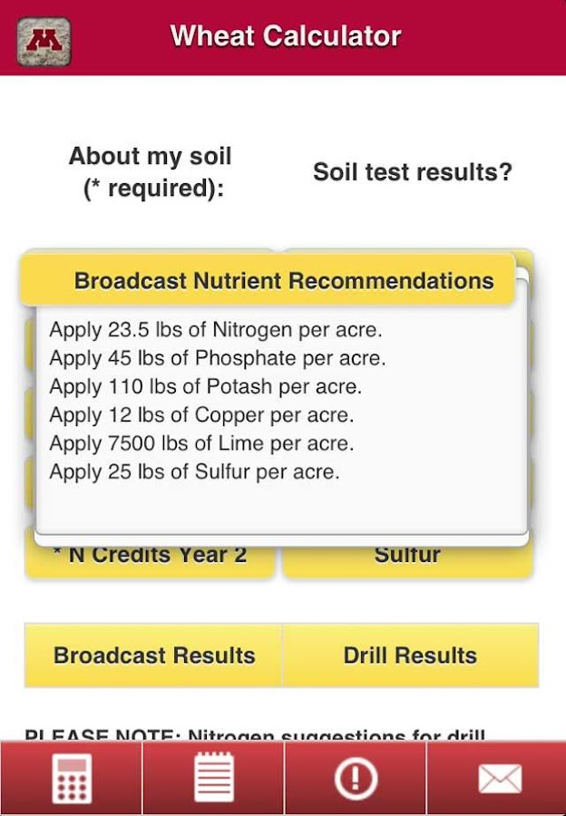 Crop Nutrient Calculators- screenshot