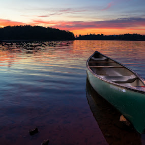 by Tom Moors - Transportation Boats ( old town canoe, lake james, canoe, sunrise, lake james state park, north carolina )