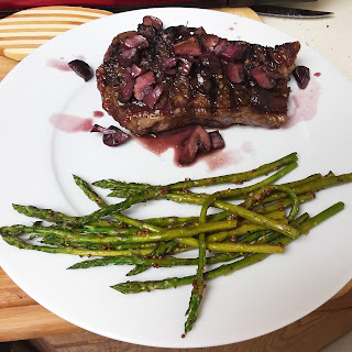 Steak and Mushrooms with Pan Sauce and Mustard Roasted Asparagus.