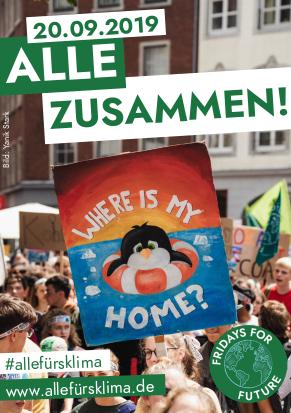 Veranstaltungsplakat. «20.09.2019 Alle zusammen! www.allefürsklima.de».