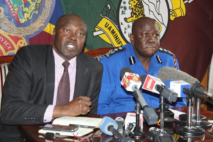 NTSA director general Francis Meja and police spokesman Charles Owino address the media at Jogoo House, Nairobi, on October 4, 2019