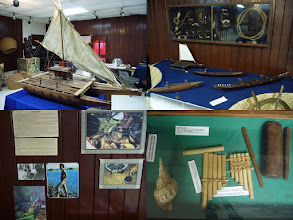 Photo: Jean P Haydon Museum, Pago Pago, AS - June 20, 2013 - [top] Some of the boat styles used by early Samoans along with their fishing tools  [bl] Tattooing is quite popular with Samoans  [br] Musical instruments