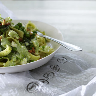 Tagliatelle with Peas, Feta and Spinach