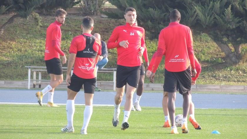 Jorge Cuenca en el entrenamiento de este jueves.