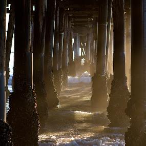 Under the Pier by Kyle Rea - Landscapes Beaches ( water, warm, calmness, relax, waves, fine art, ocean, enjoy, beach, wall art, house decoration, life, canvas art, sunset, sunbath, meditation, farmer's tan, summertime, planet earth,  )